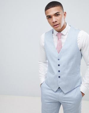 Приталенный жилет под смокинг Wedding-Синий Burton Menswear