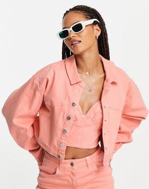 Персиковая джинсовая куртка от комплекта ASOS LUXE-Оранжевый цвет Luxe