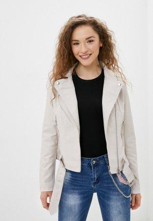 Куртка кожаная Adrixx. Цвет: белый