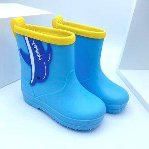 Для мальчиков Резиновые сапоги Контрастный аппликациями SHEIN. Цвет: синий