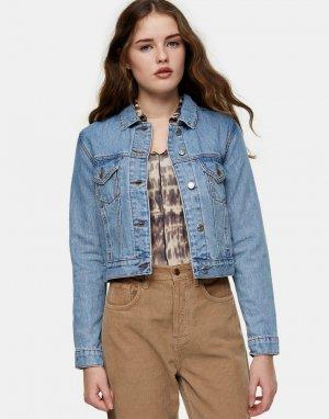 Голубая выбеленная джинсовая куртка в стиле oversized Tosphop-Коричневый цвет Topshop