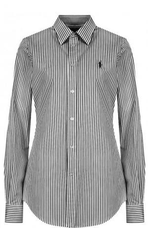 Хлопковая рубашка Polo Ralph Lauren. Цвет: чёрно-белый