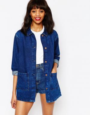 Свободная джинсовая куртка Monki. Цвет: синий