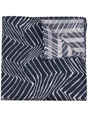 Платок с узором зигзаг Giorgio Armani. Цвет: синий
