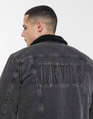 Черная джинсовая куртка с логотипом и подкладкой из искусственного меха Levis 3-Черный