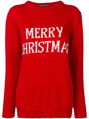 Вязаный джемпер Merry Christmas Alberta Ferretti. Цвет: красный