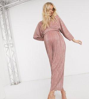 Плиссированный комбинезон с рукавами-кимоно ASOS DESIGN Maternity-Розовый Maternity