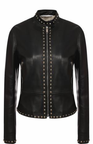 Приталенная кожаная куртка с воротником-стойкой Valentino. Цвет: чёрный