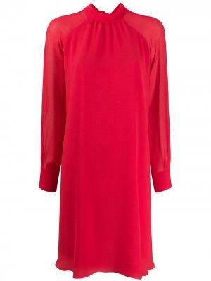Расклешенное платье с длинными рукавами Kenzo. Цвет: красный