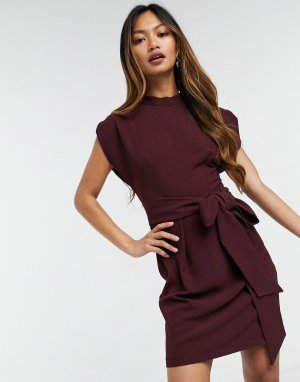 Сливовое платье мини с поясом -Фиолетовый Closet London