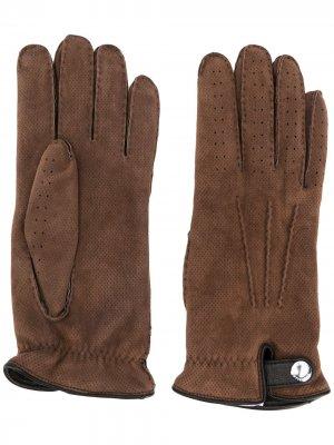 Перчатки с вышивкой Brunello Cucinelli. Цвет: коричневый