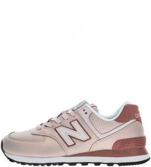 Кроссовки розового цвета на шнуровке 574 New Balance. Цвет: розовый