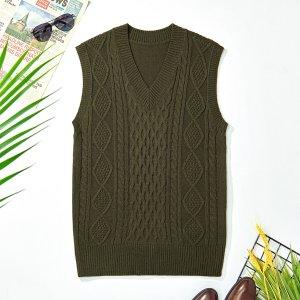 Мужской вязаный свитер с v-образным вырезом, жилет SHEIN. Цвет: армейский зеленый