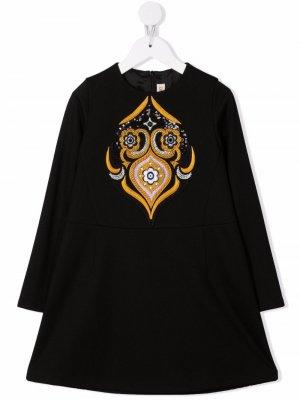 Платье с цветочной вышивкой Emilio Pucci Junior. Цвет: черный