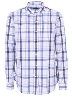 Рубашка хлопковая в клетку Baldessarini. Цвет: голубой