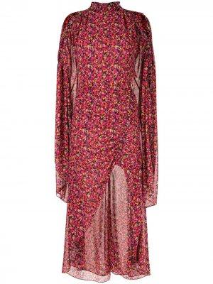 Платье Lilia с оборками и цветочным принтом CAMILLA AND MARC. Цвет: красный