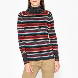 Пуловер с воротником отворотом из тонкого трикотажа MARCO BERENICE. Цвет: разноцветный