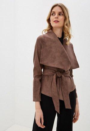 Куртка кожаная Ruxara. Цвет: коричневый