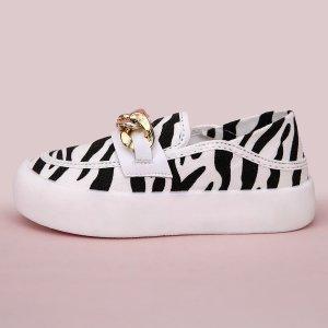 Слипоны на плоской подошве с узором зебры для девочек SHEIN. Цвет: черный и белый