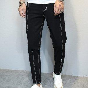 Мужской Зауженные джинсы SHEIN. Цвет: чёрный