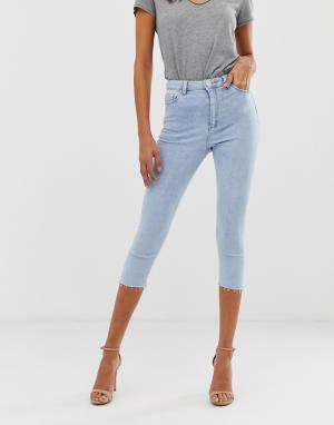 Голубые укороченные джинсы скинни с завышенной талией -Синий ASOS DESIGN