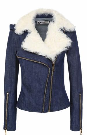 Джинсовая куртка с косой молнией и отделкой из овчины Lanvin. Цвет: синий