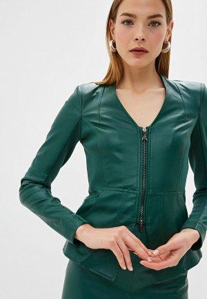 Куртка кожаная Patrizia Pepe. Цвет: зеленый