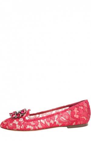 Текстильные лоферы Rainbow Lace Dolce & Gabbana. Цвет: красный
