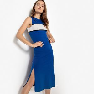 Платье спортивное средней длины без рукавов LA REDOUTE COLLECTIONS. Цвет: синий/ белый,черный/ белый