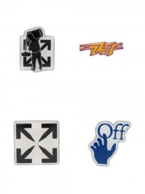 Комплект из четырех значков с логотипом Off-White. Цвет: черный