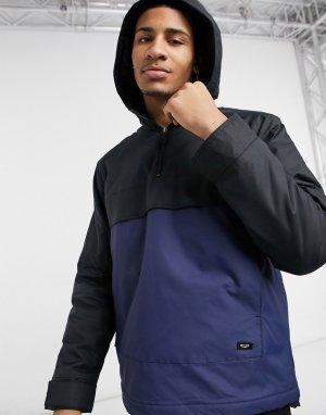 Черно-синий анорак без застежки в стиле колор блок -Голубой Only & Sons