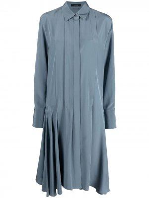 Платье с длинными рукавами и плиссировкой Joseph. Цвет: синий