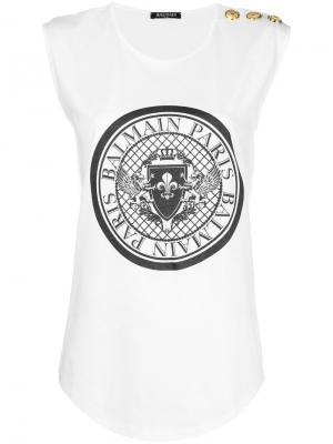 Logo-print tank top Balmain. Цвет: белый