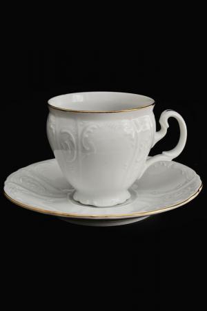 Набор кофейный 170 мл 6 пар Bohemia. Цвет: белый, золотой