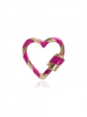 Pink heart lock 14K gold charm Marla Aaron. Цвет: розовый