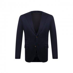 Хлопковый пиджак Eleventy. Цвет: синий