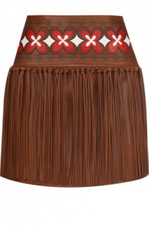 Кожаная мини-юбка с контрастным принтом и бахромой Valentino. Цвет: коричневый