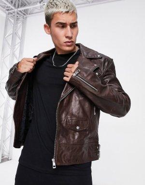 Коричневая кожаная байкерская куртка -Коричневый ASOS DESIGN