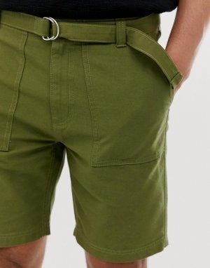 Широкие шорты-карго в стиле милитари с ремнем -Зеленый Bellfield