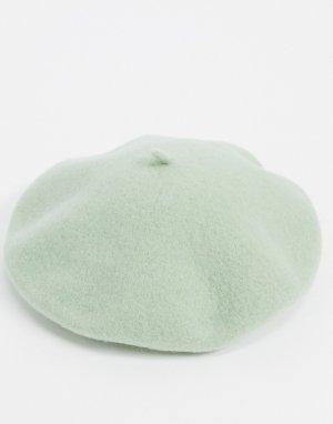 Шерстяной берет шалфейно-зеленого цвета -Зеленый Monki