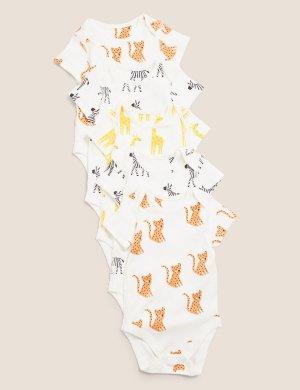 Боди из органического хлопка с принтом животные (5 шт) Marks & Spencer. Цвет: мульти