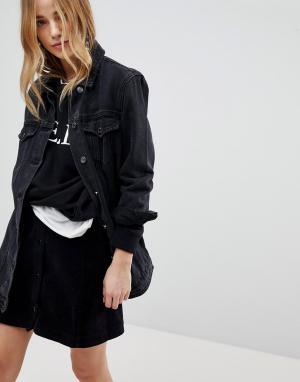 Длинная джинсовая куртка -Черный New Look