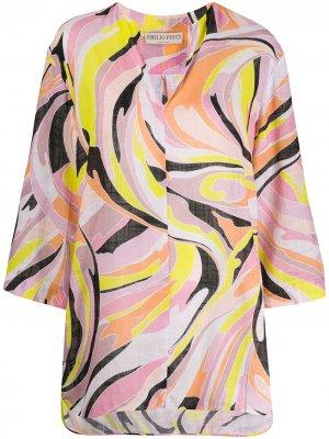 Рубашка-туника Vetrate с принтом Emilio Pucci. Цвет: розовый