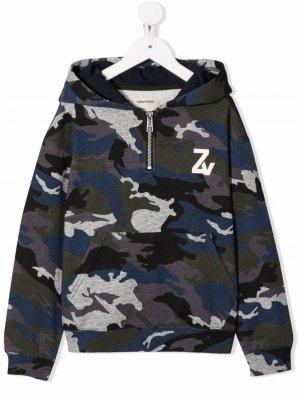 Camouflage print hoodie Zadig & Voltaire Kids. Цвет: синий