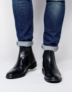 Кожаные ботинки ASOS Chelsea DESIGN. Цвет: черный