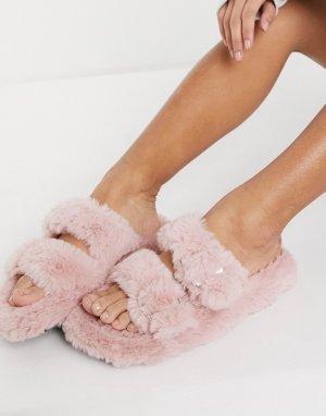 Пушистые розовые слиперы с пряжкой Qupid-Розовый цвет QUPID