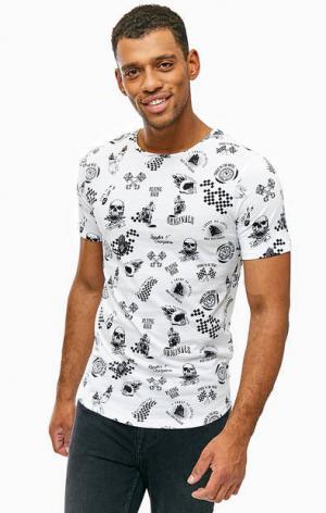 Белая хлопковая футболка с принтом Jack & Jones. Цвет: белый