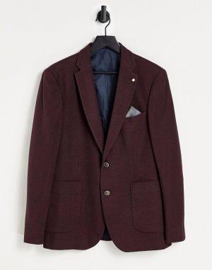 Бордовый блейзер из фактурной ткани пике Burton-Красный Burton Menswear