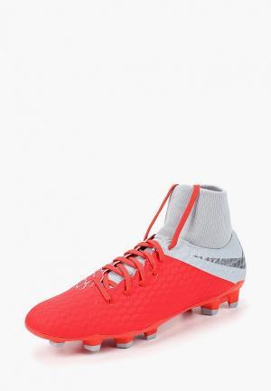 Бутсы Nike Hypervenom Phantom III Academy Dynamic Fit FG. Цвет: красный