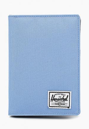 Обложка для паспорта Herschel Supply Co RAYNOR PASSPORT HOLDER LEATHER RFID. Цвет: голубой